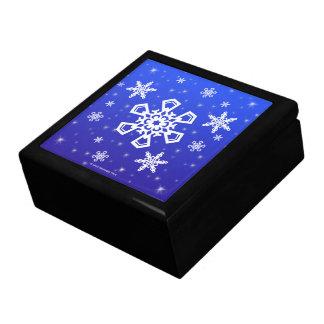 Schneeflocken weiß auf Blau Geschenkbox