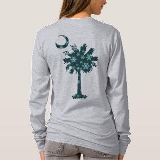 Schneeflockepalmetto-Baum-und Mond-Logo T-Shirt