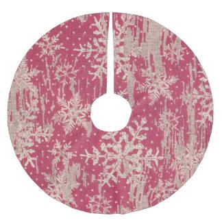 Schneeflockeschnee des Baumrockes roter rustikales Polyester Weihnachtsbaumdecke