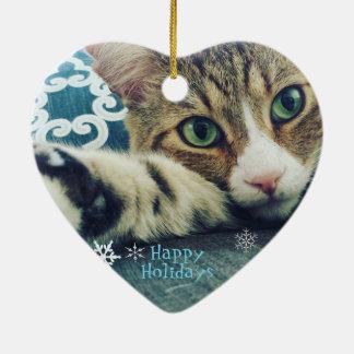 Schneeflocketabby-Katzen-Verzierung Keramik Herz-Ornament