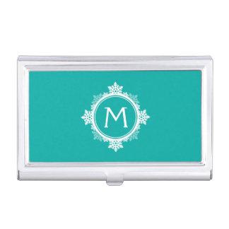 Schneeflockewreath-Monogramm in aquamarinem Blauem Visitenkarten Etui