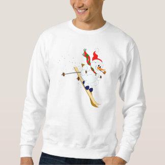 Schneemann auf Skis Sweatshirt