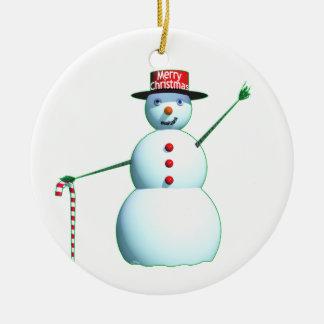 Schneemann der frohen Weihnacht-3D Rundes Keramik Ornament