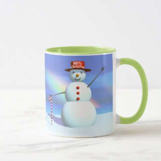 Schneemann der frohen Weihnacht-3D Tasse
