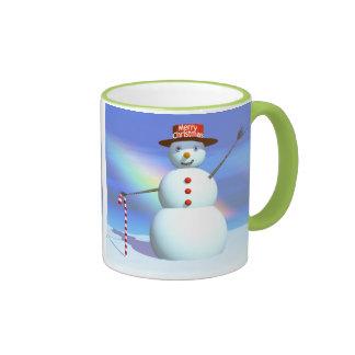 Schneemann der frohen Weihnacht-3D Ringer Tasse