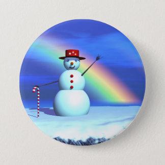 Schneemann des Weihnachten3d Runder Button 7,6 Cm
