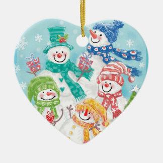Schneemann-Familien-Weihnachtsverzierungen Keramik Herz-Ornament