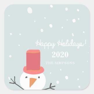 Schneemann-Feiertags-Aufkleber Quadratischer Aufkleber