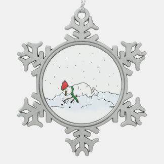 Schneemann-Fragen Schneeflocken Zinn-Ornament