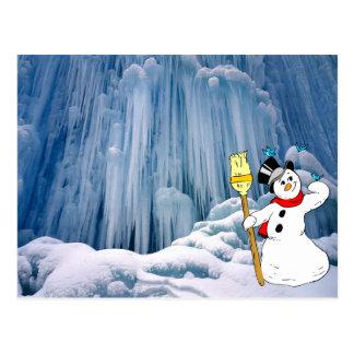 Schneemann, gefrorener Wasserfall im Haute Jura Postkarte