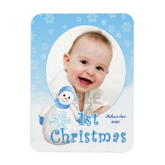 Schneemann-Gewohnheit des Babys 1. Weihnachts Magnete