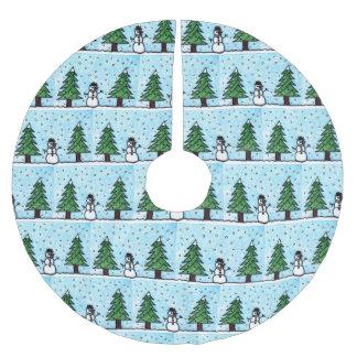 Schneemann-Grüße Polyester Weihnachtsbaumdecke