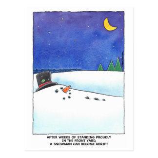 Schneemann-hilflos Postkarte