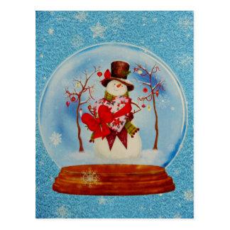 Schneemann in einer Schnee-Kugel Postkarte
