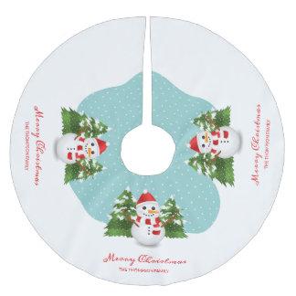 Schneemann-kundenspezifische Familienname-frohe Polyester Weihnachtsbaumdecke