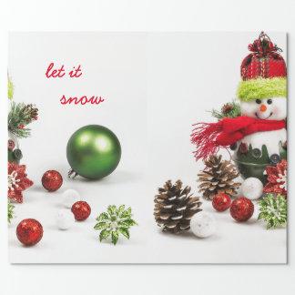 Schneemann mit Flitter und Kiefernkegel-Packpapier Geschenkpapier
