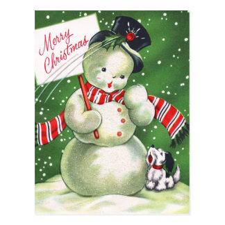 Schneemann mit Hund Postkarte