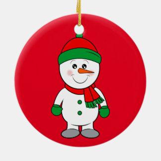 Schneemann mit Karotten-Nase, Schal und Keramik Ornament