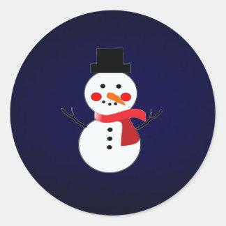 Schneemann mit rotem Schal-festem blauem Runder Aufkleber