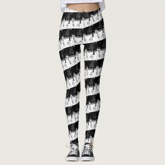 Schneemann mit Schal- und Hutschwarzweiss-Entwurf Leggings