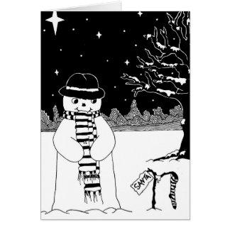 Schneemann mit Schal- und Hutschwarzweiss-Kunst Karte