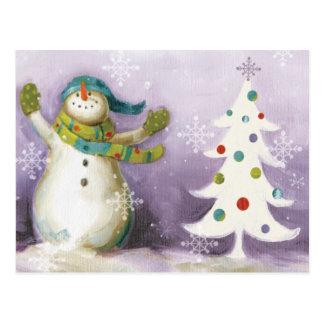 Schneemann mit Winter-Handschuhen und Postkarte