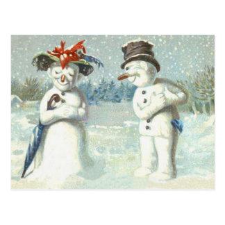 Schneemann-Paar-Winter-Schnee-Feld Postkarte