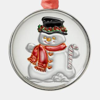 Schneemann Rundes Silberfarbenes Ornament