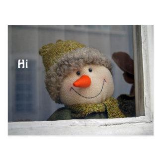 """Schneemann sagt """"hallo """" postkarte"""