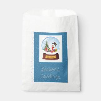 Schneemann Snowglobe Grüße Geschenktütchen