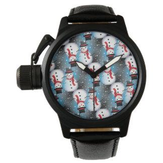 Schneemann/sternenklares Blau Uhr