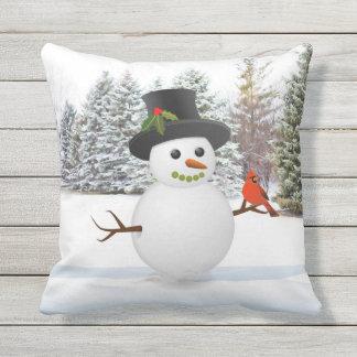 Schneemann-und Freund-Weihnachtsfeiertags-Kissen Kissen Für Draußen