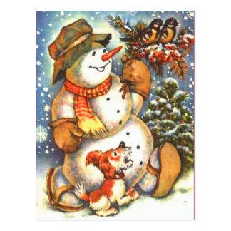 Schneemann und Hund Postkarte