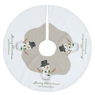 Schneemann-und Personalizable Polyester Weihnachtsbaumdecke