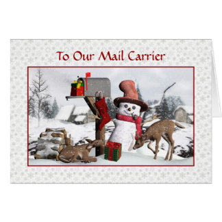 Schneemann und Rotwild frohe Feiertage zum Karte