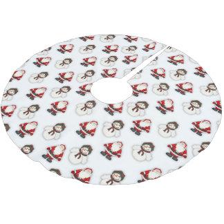 Schneemann-und Sankt-Muster Polyester Weihnachtsbaumdecke