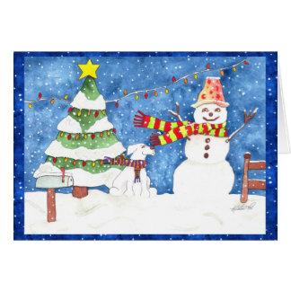 Schneemann und Snowdog Grußkarte
