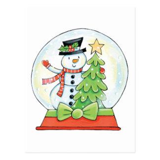 Schneemann-und Weihnachtsbaum in einer Postkarte