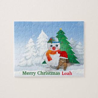 Schneemann-und Weihnachtsbaum-Puzzle Puzzle