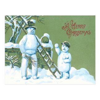 Schneemann-Vater-und Sohn-Schnee-Leiter-Schneeball Postkarte