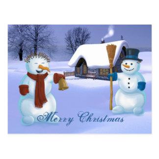 Schneemann-Weihnachten Postkarte