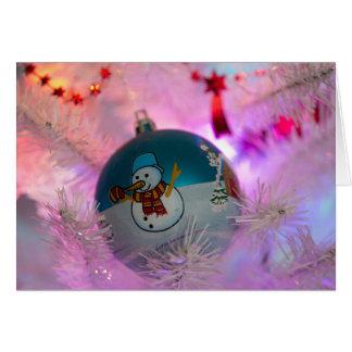 Schneemann - Weihnachtsbälle - frohe Weihnachten Karte