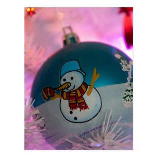 Schneemann - Weihnachtsbälle - frohe Weihnachten Postkarte