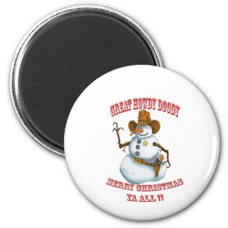 Schneemann-Western-Cowboy sherriff Runder Magnet 5,7 Cm