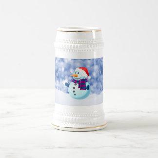 Schneemann-Winter-frohe Weihnacht-Schnee Bierglas