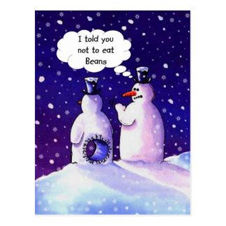 Schneemänner, essen nicht Bohnen!!!! Postkarte