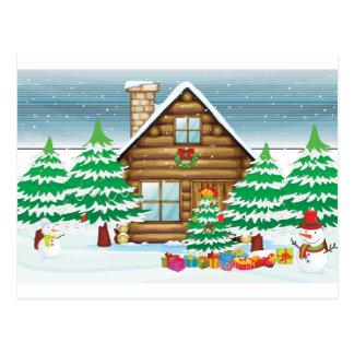 Schneemänner und Haus Postkarte