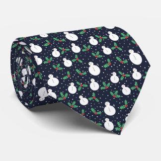 Schneemänner und Mistelzweigmuster Krawatte