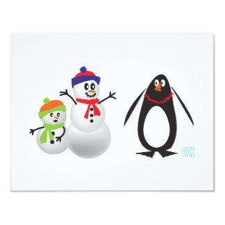 Schneemänner und Pinguin 10,8 X 14 Cm Einladungskarte