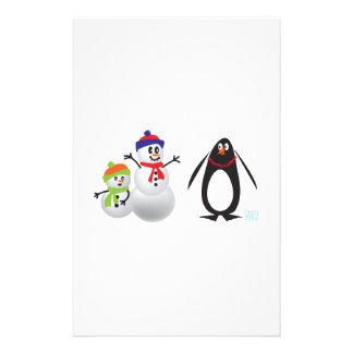 Schneemänner und Pinguin Briefpapier